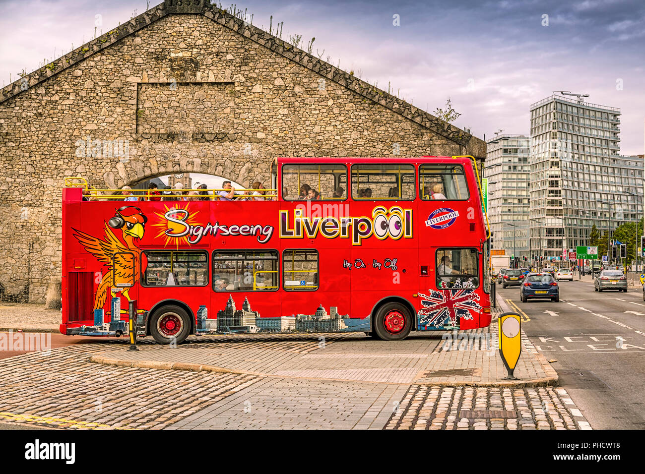 Sightseeing in Liverpool is a must, takes around the city attractions including memorable places such as The Beatles Penny Lane, Strawberry Fields etc - Stock Image
