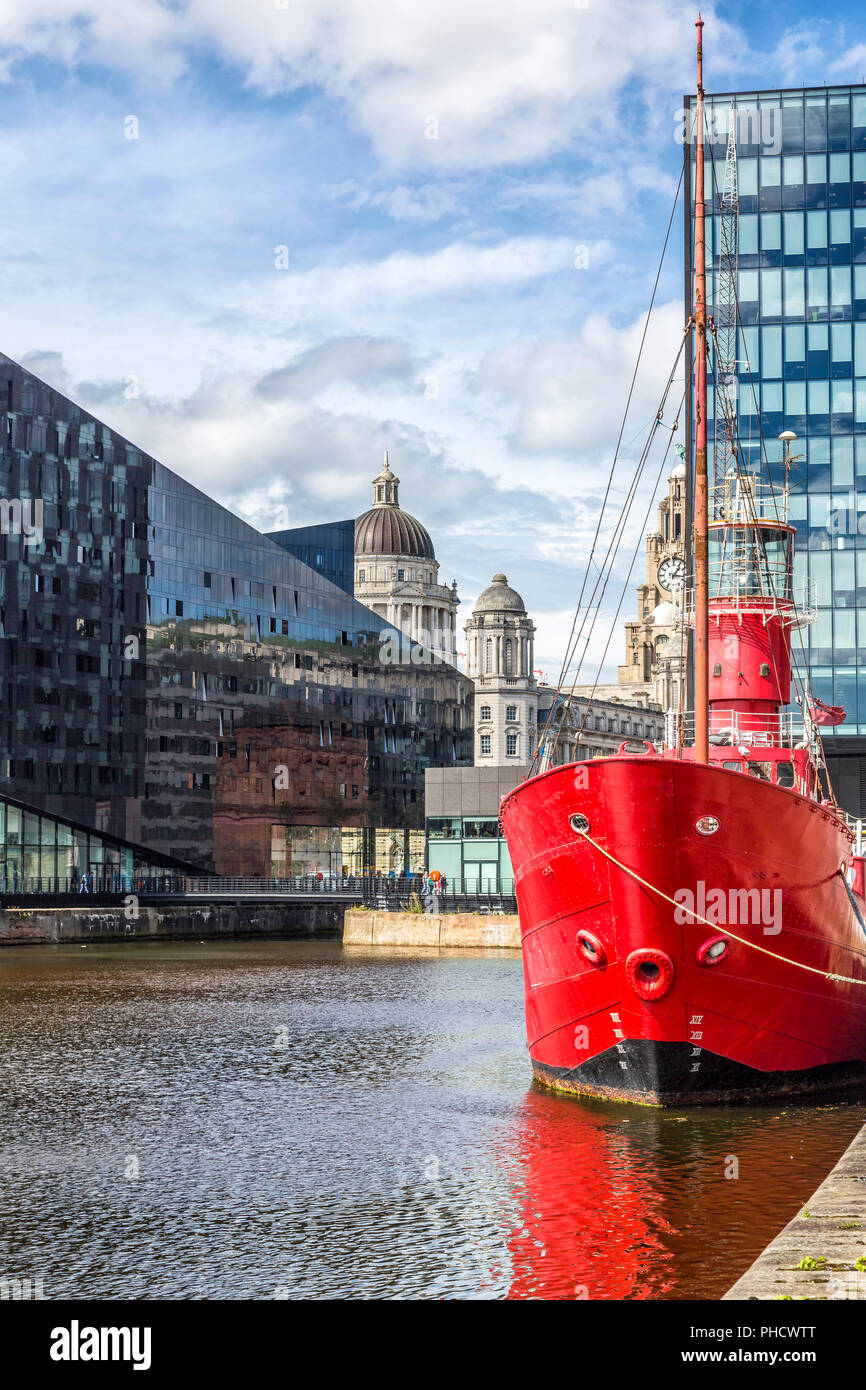 View of Canning Dock in Liverpool. - Stock Image