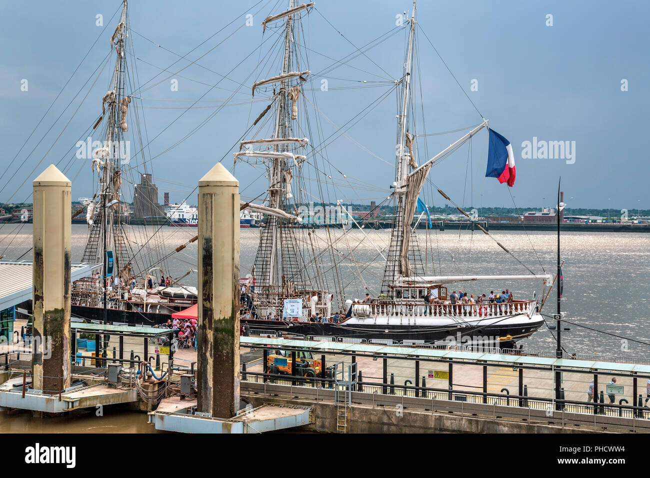 The Tall Ships Regatta out on the River Mersey in May 2018. - Stock Image