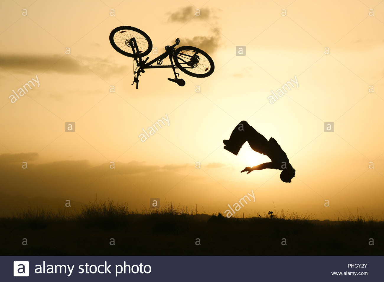 careless bike riding and accidents - Stock Image