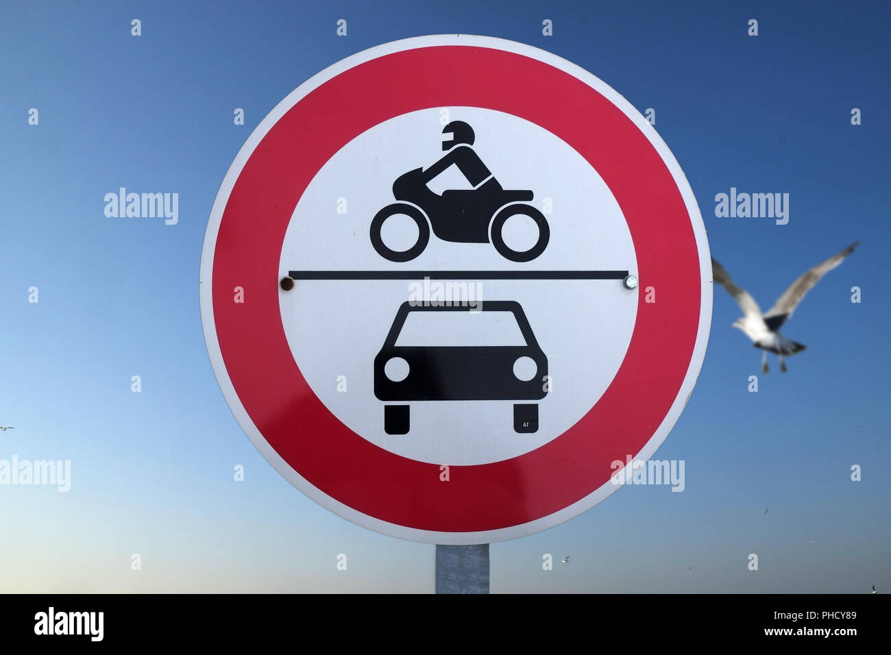 Traffic sign: Prohibition for motor vehicles - Stock Image