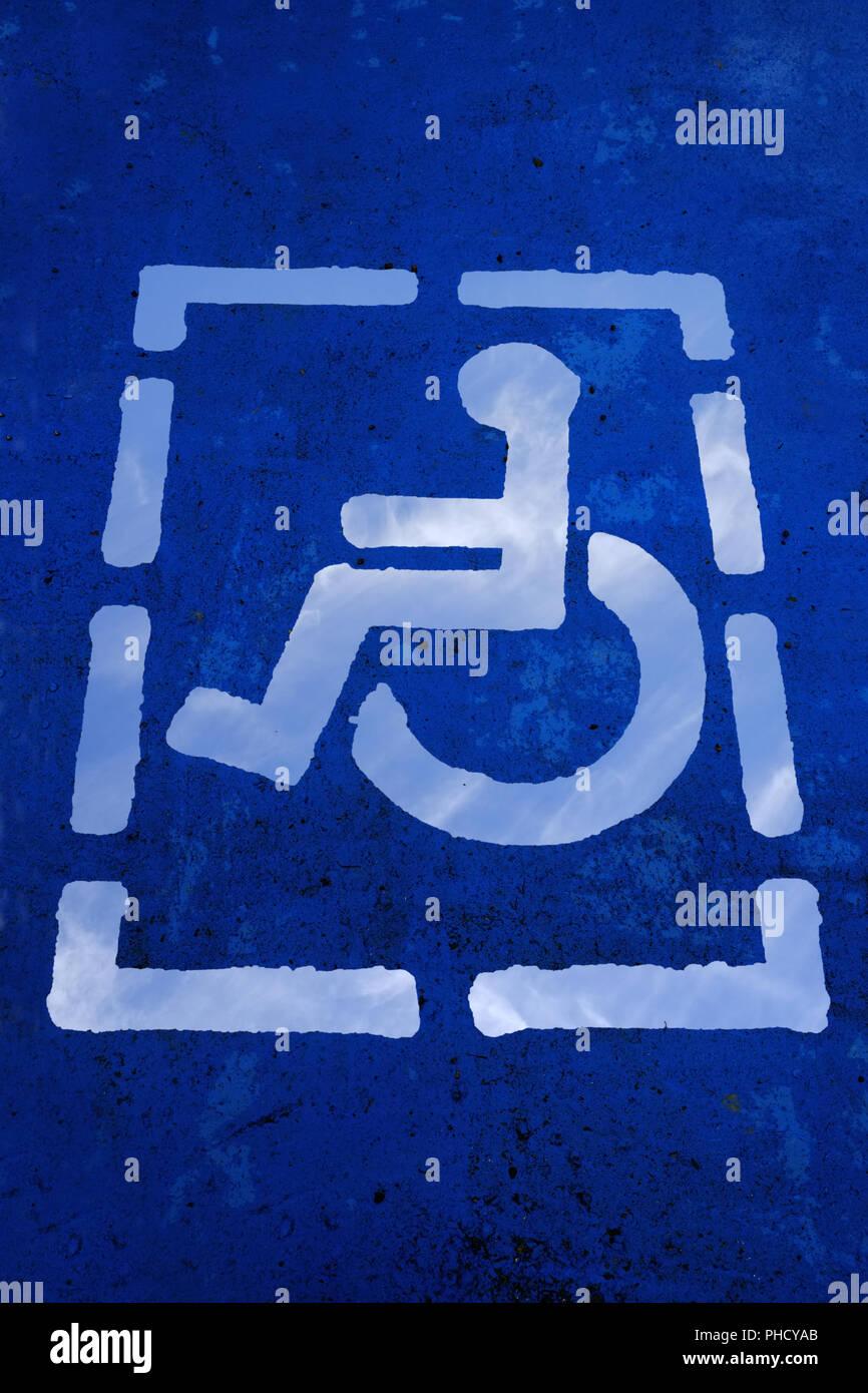 Wheelchair user, pictogram - Stock Image