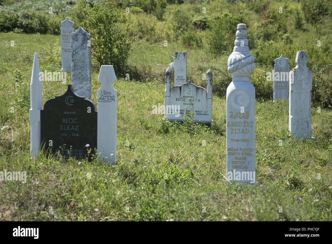 Islamic Graveyard with Tombstones, Bosnia - Stock Image