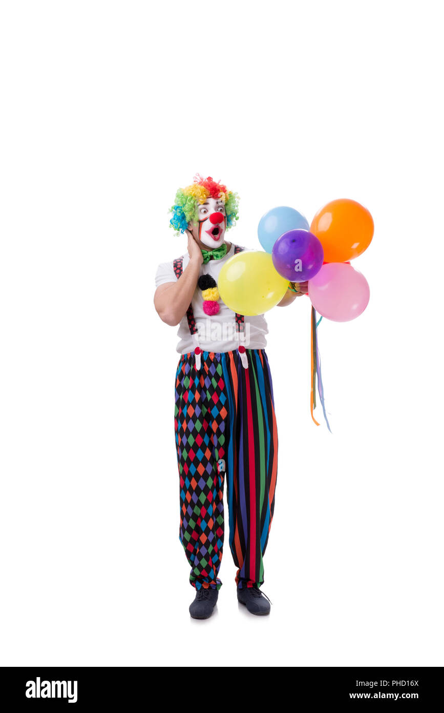 Funny clown with balloons isolated on white background Stock Photo
