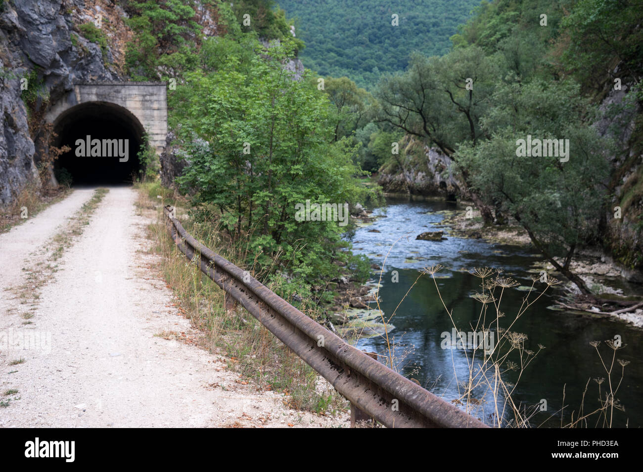 Vally of the River Sana with Railway Tunnel, Bosnia - Stock Image
