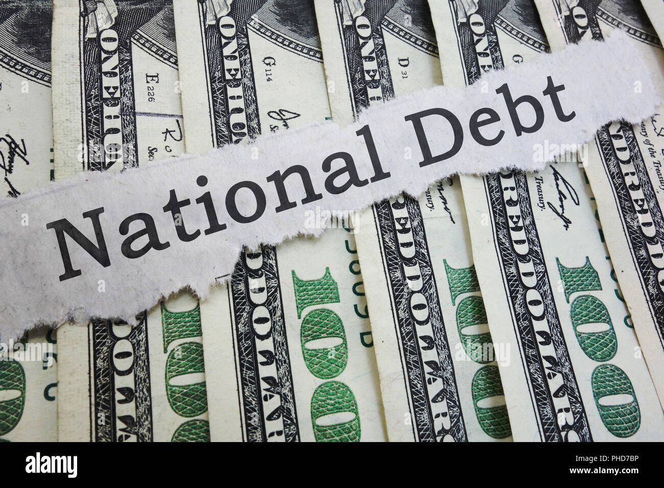 National Debt headline - Stock Image
