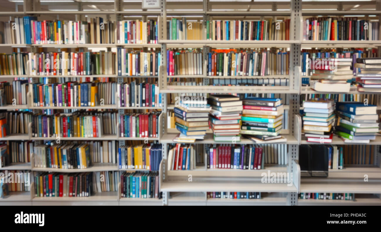 Library book shelves - Stock Image