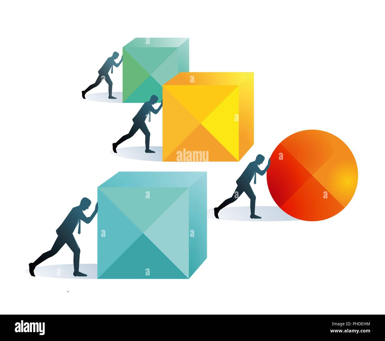 Pushing forward concept illustration, - Stock Image