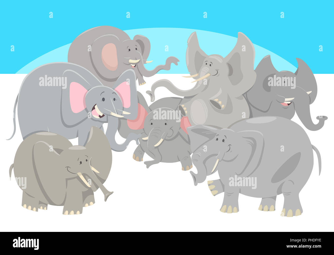 Cartoon Elephants Animal Characters Group Stock Photo Alamy