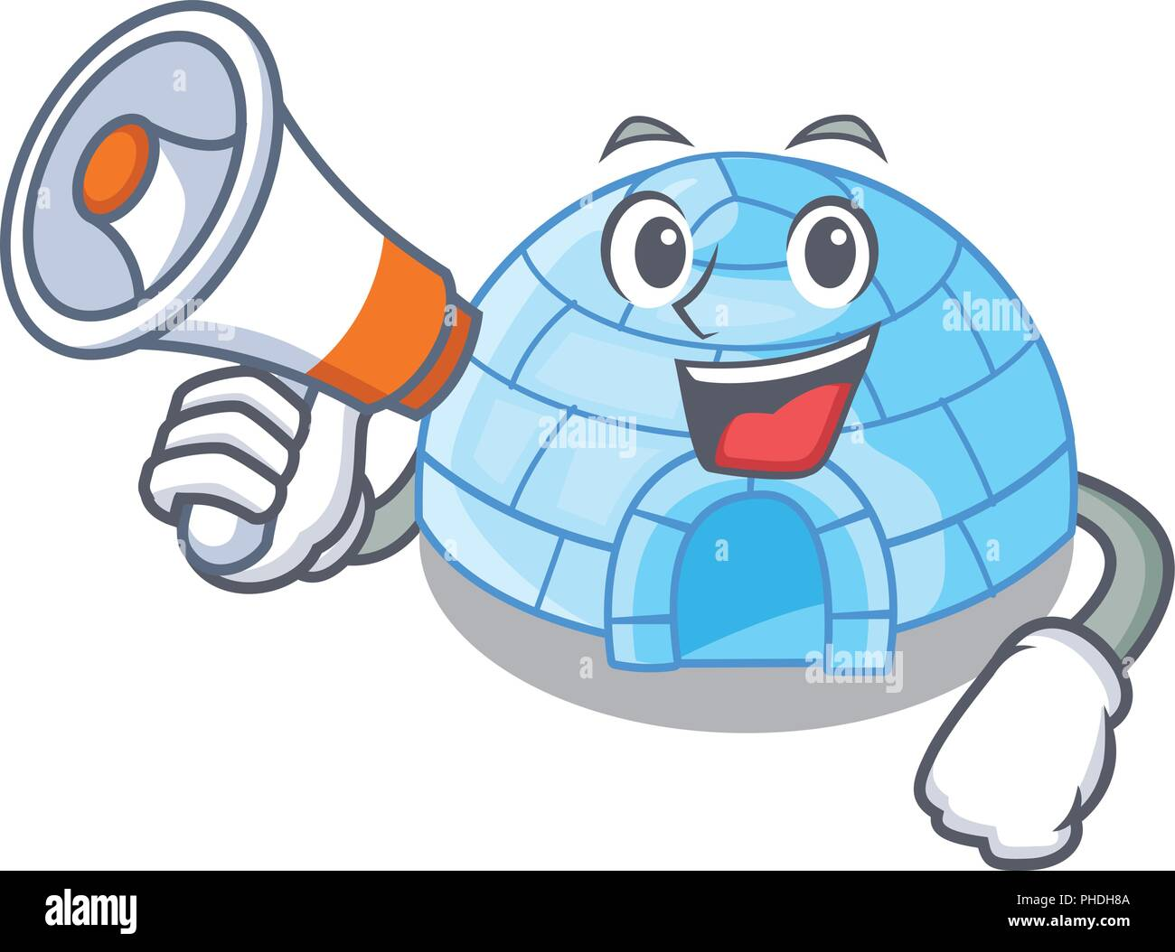 With megaphone character cartoon ice house in snowfield vector illustration Stock Vector