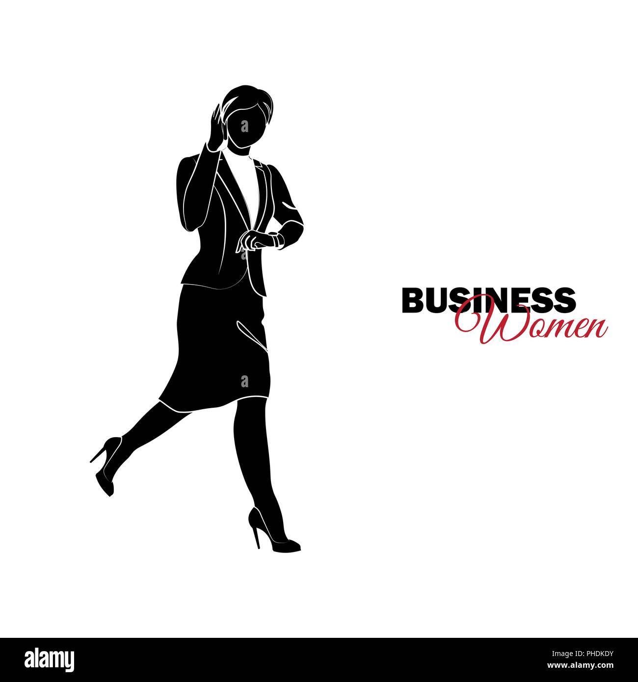 Businesswoman. Woman in business suit. Businesswoman runs and talks on the phone, late Stock Vector