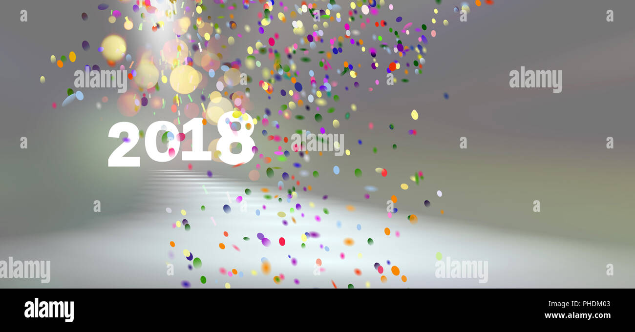 card 2018 lights bokeh confetti background - Stock Image