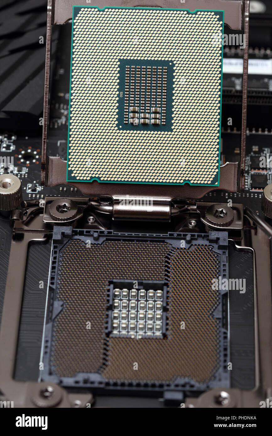 central processor unit on motherboard - Stock Image