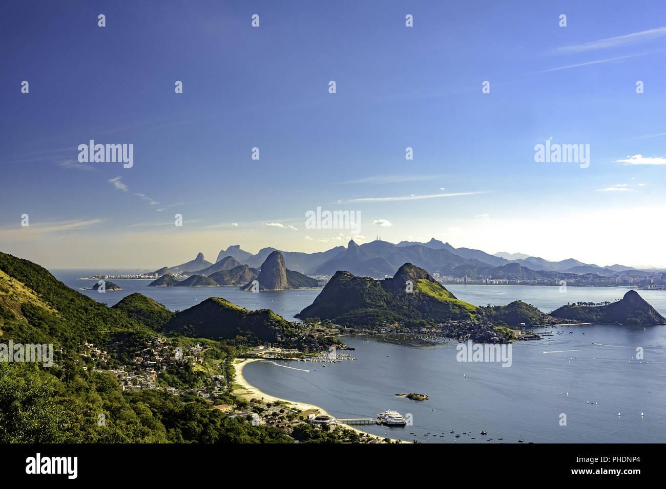 View of Rio de Janeiro from Niteroi Stock Photo