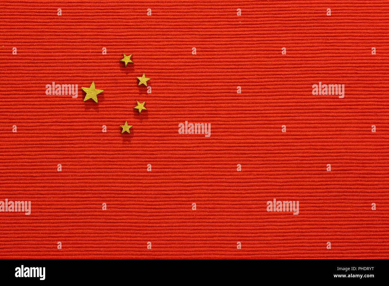 China flag, flat lay - Stock Image