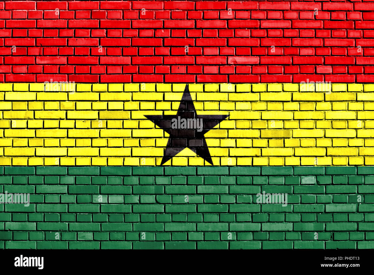 flag of Ghana painted on brick wall - Stock Image