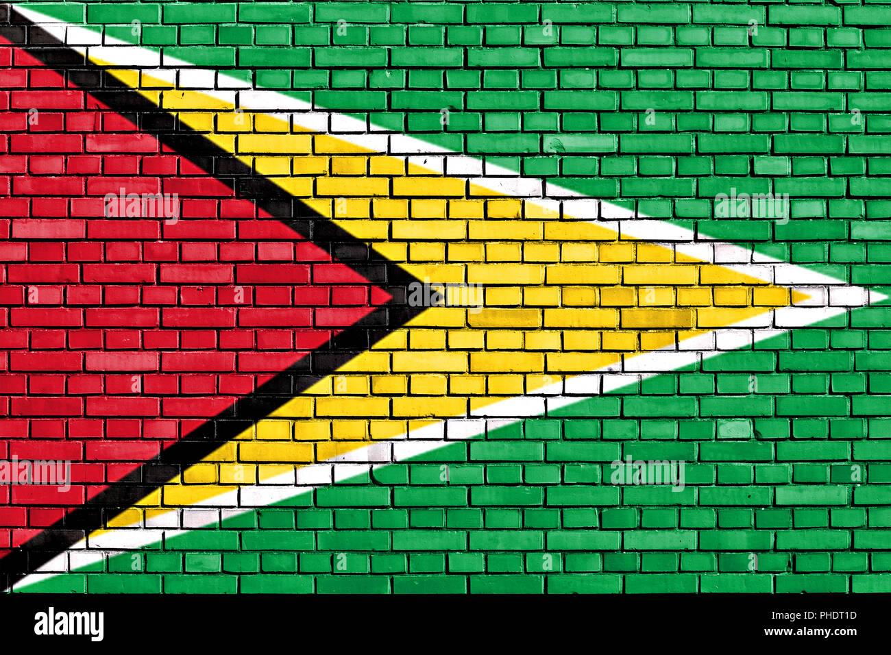 flag of Guyana painted on brick wall - Stock Image