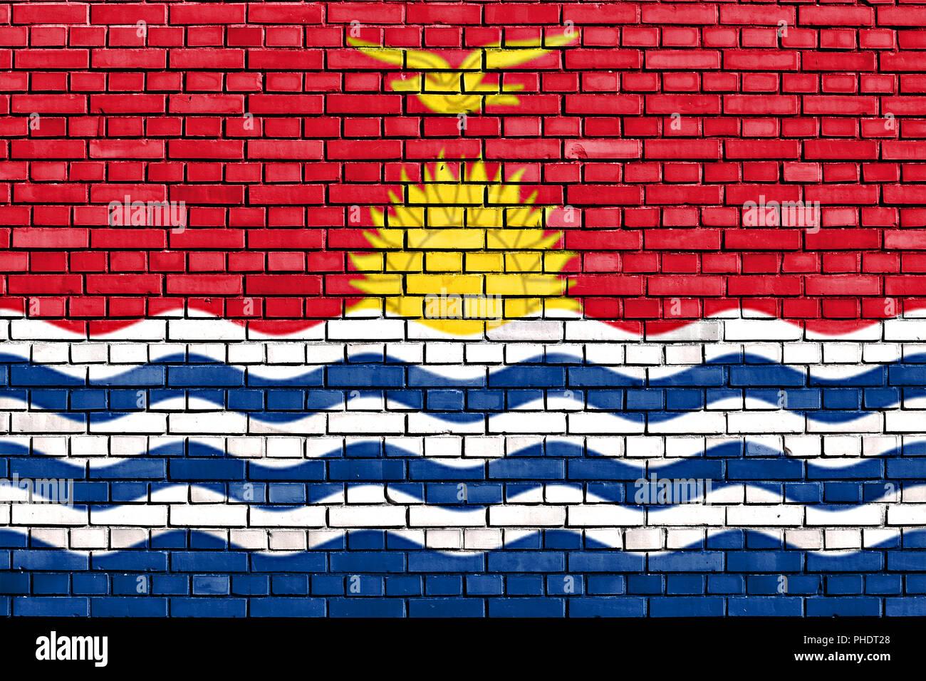 flag of Kiribati painted on brick wall Stock Photo