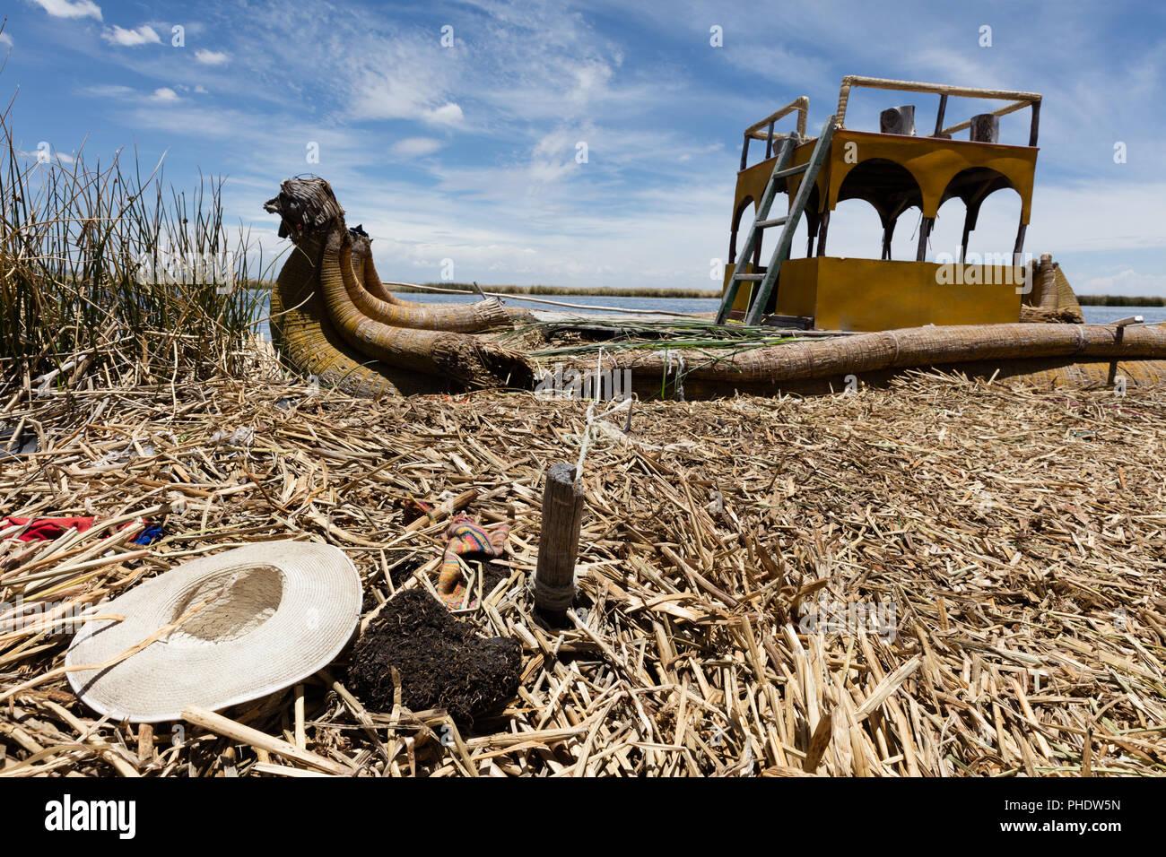 boat in the Uro Islands,Peru - Stock Image