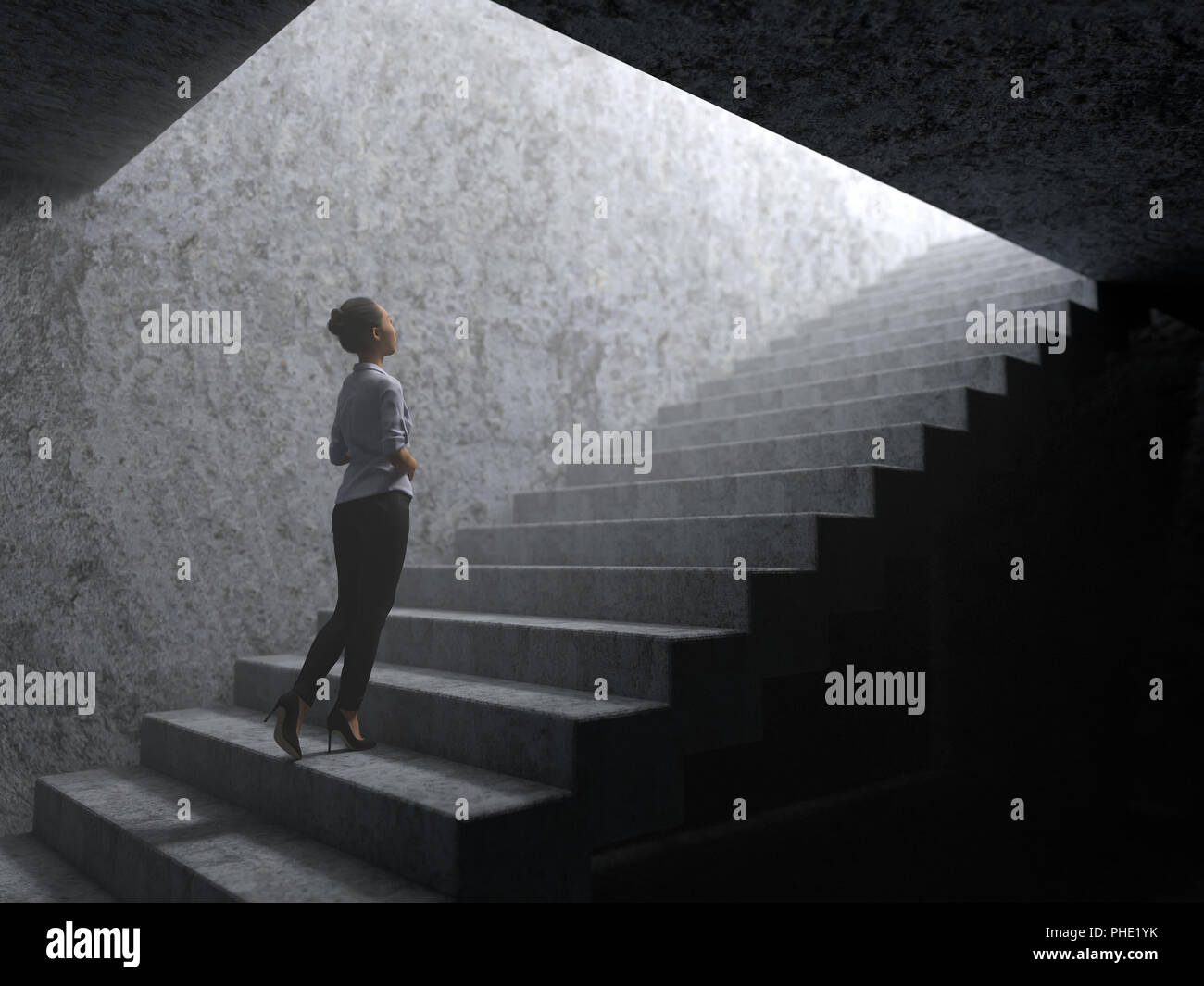 woman climbs the stairs from darkness to light - Stock Image