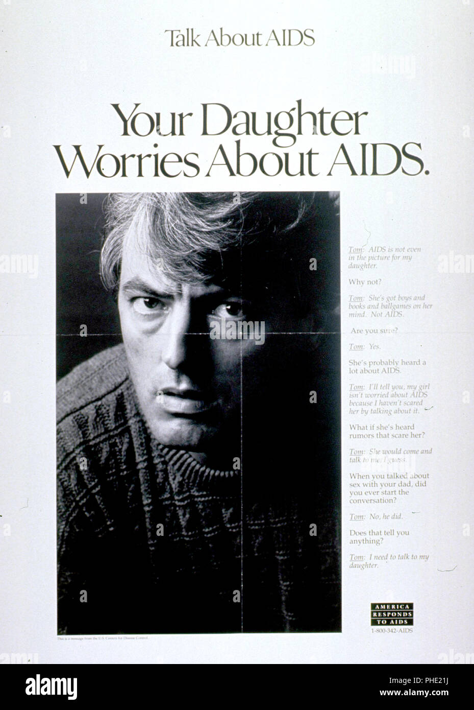 Your daughter worries about AIDS Poster 1980s - Stock Image