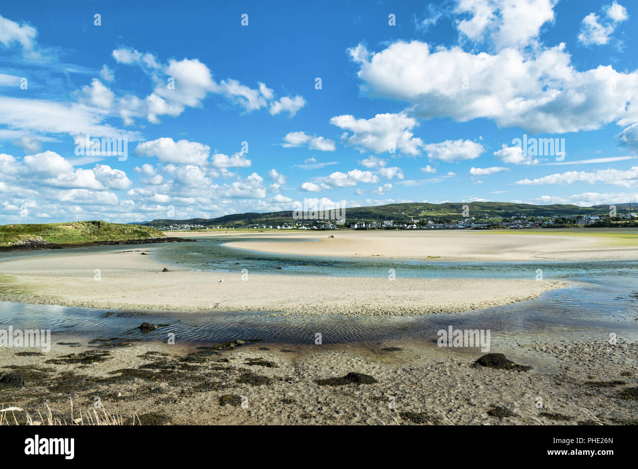 This is a picture of Dunfanaghy Estuary in Donegal Ireland and low tide. - Stock Image