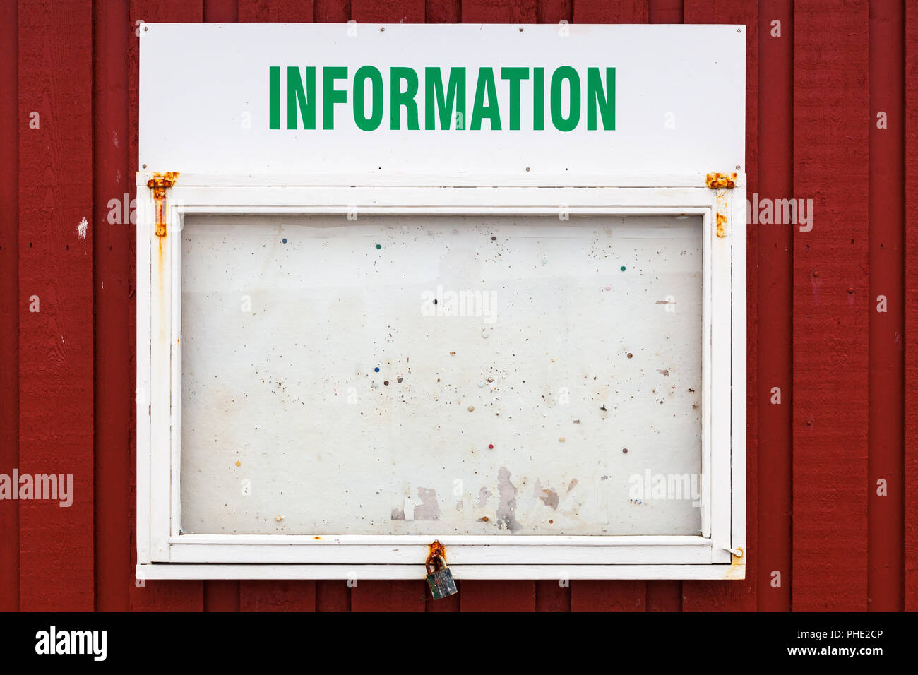 Information board for notes on a house wall - Stock Image
