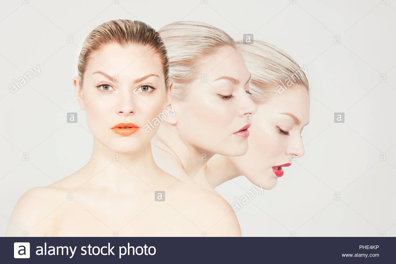 Multiple image of a young woman. Stock Photo