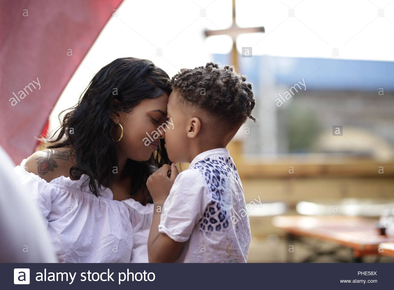 Mother and son spending time together - Stock Image
