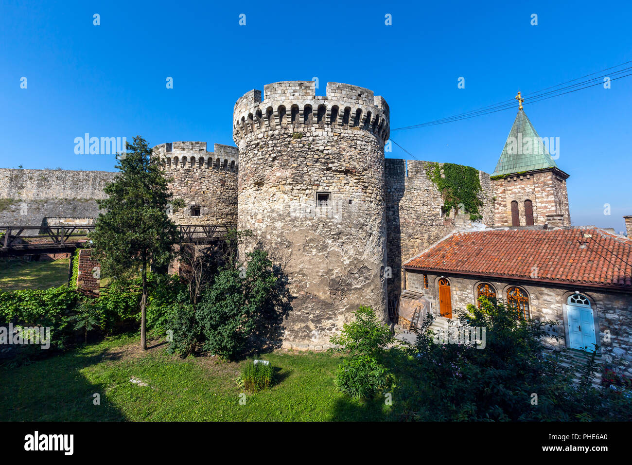 Famous fortress Kalemegdan in Belgrade - Stock Image