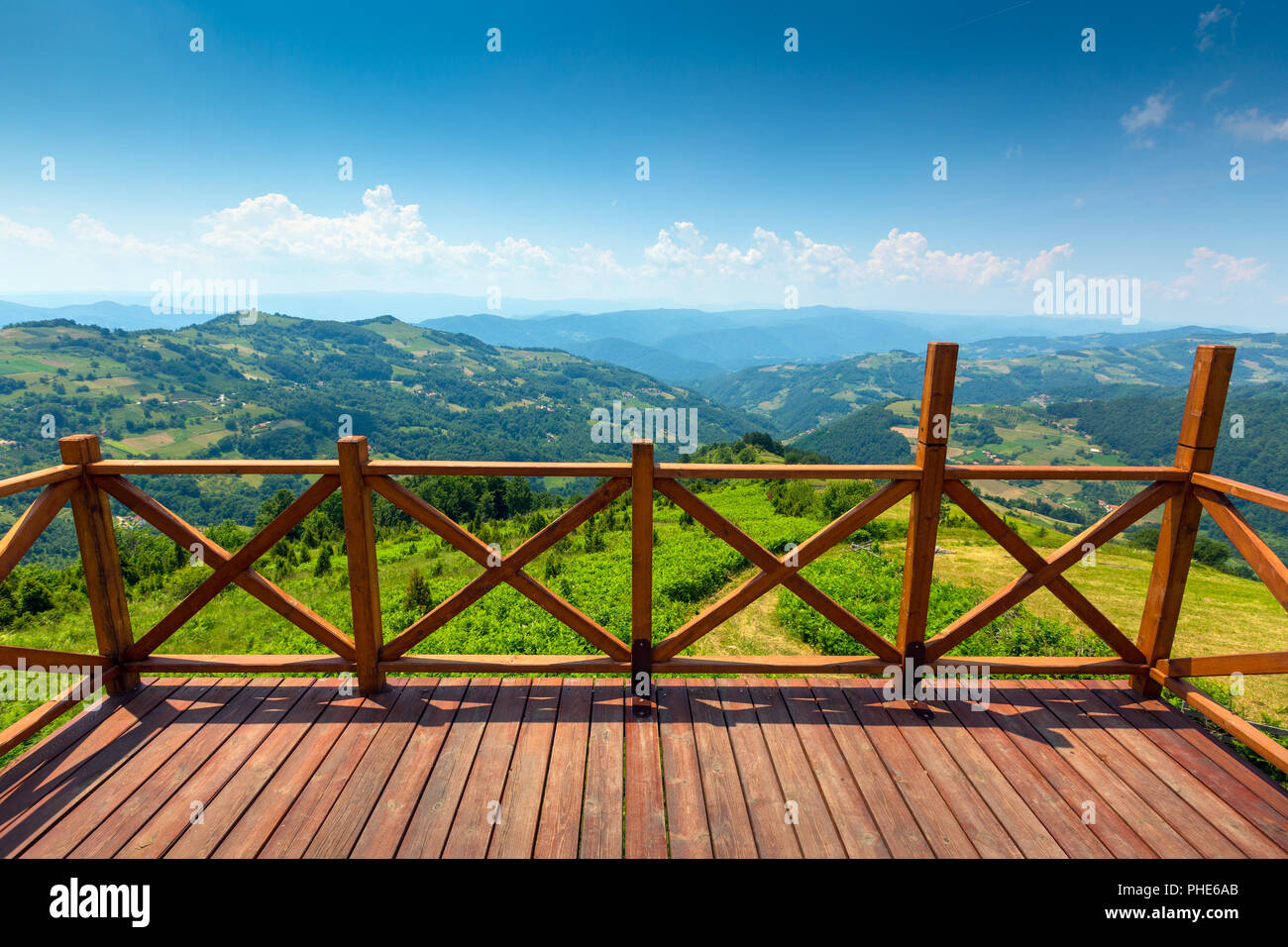 mountains landscape with viewpoint in Serbia - Stock Image