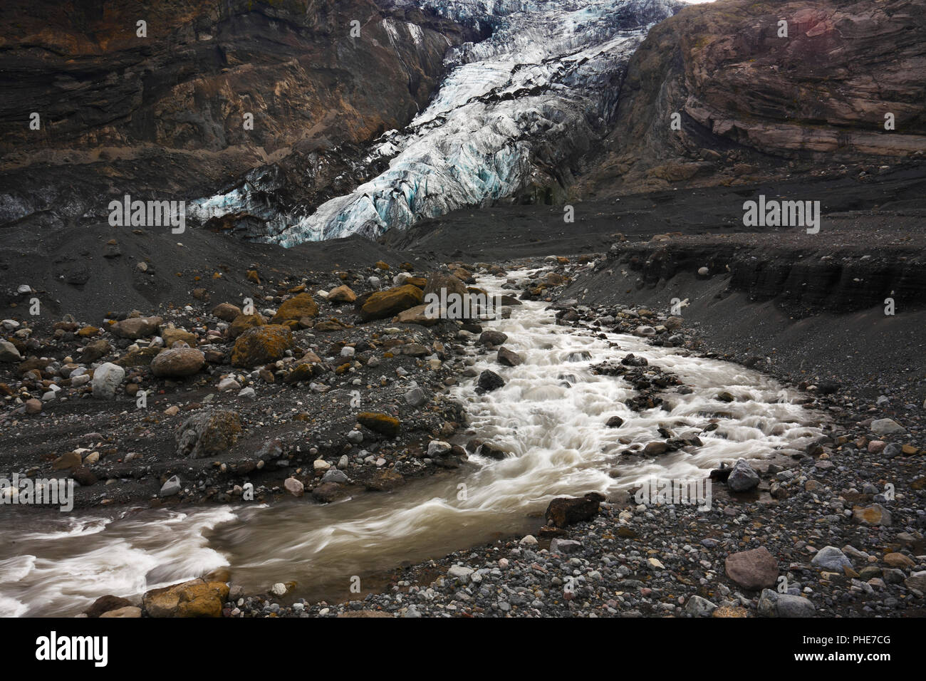 Gígjökull glacier after 2010 eruption of Eyjafjallajökull volcano, Iceland - Stock Image