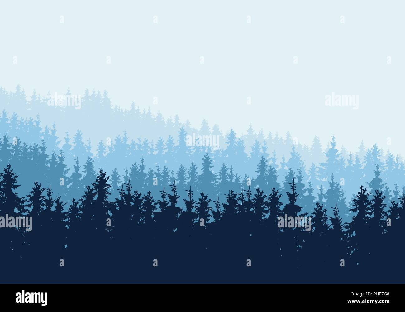 Vector realistic illustration of coniferous forest with blue trees and spruces in multiple layers, under winter sky and mist. Horizontal with space fo - Stock Vector