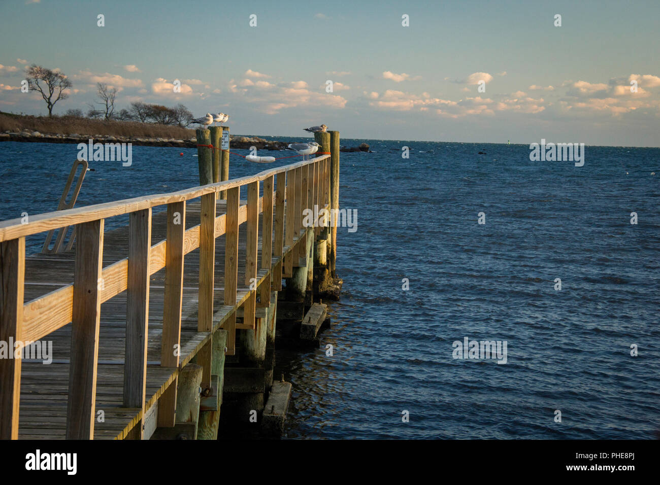 dock leading to the ocean, lit from the side at sunset - Stock Image