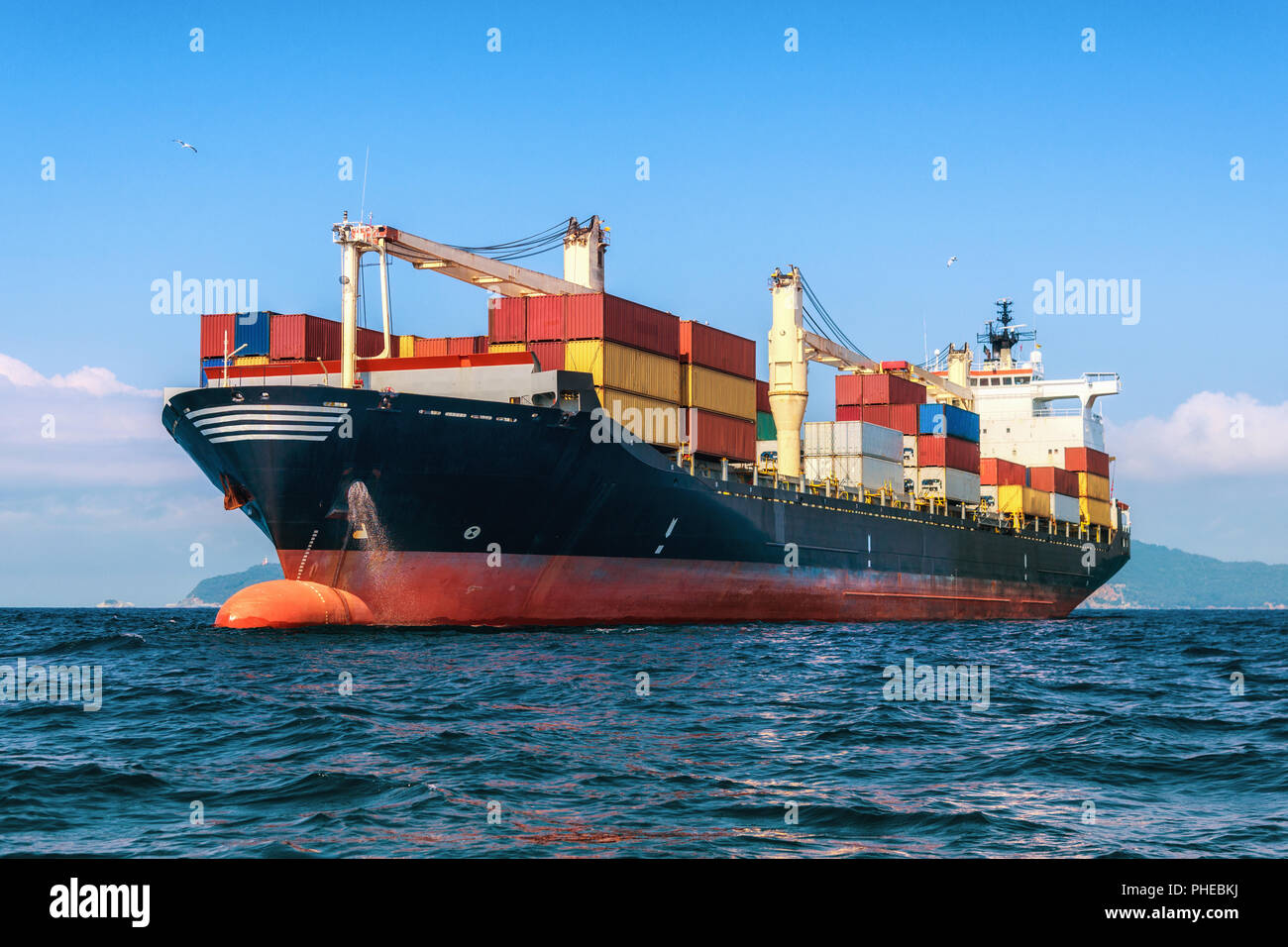 Logistics and transportation of International Container Cargo ship - Stock Image