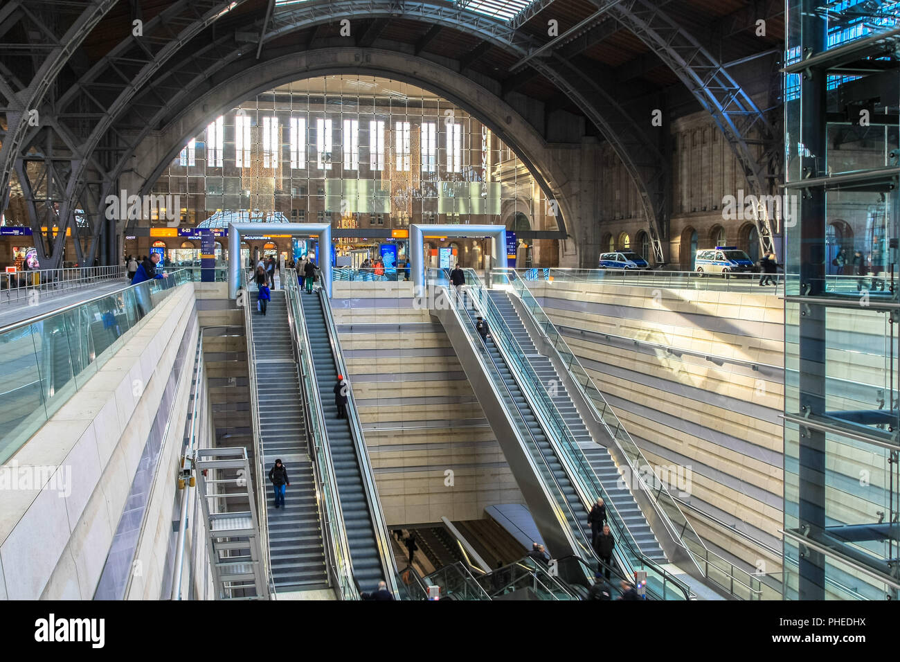 Leipzig central station - access to the underground station Stock Photo