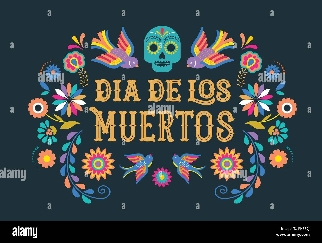 Day Of The Dead Dia De Los Moertos Banner With Colorful Mexican