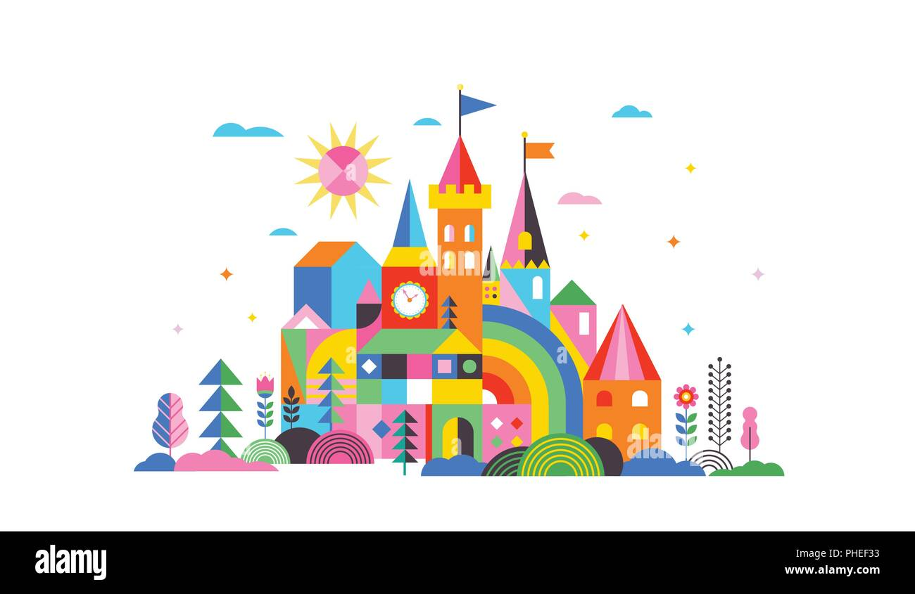 Geometric fairy tale kingdom, knight and princess castle, children room, class wall decoration. Colorful vector illustration - Stock Image