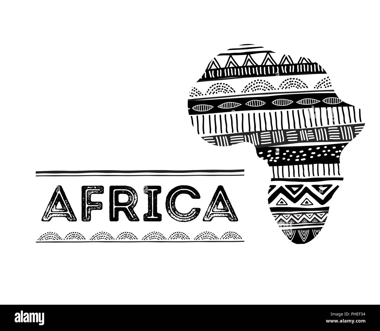 African map silhouette with tribal traditional grunge pattern concept design stock image