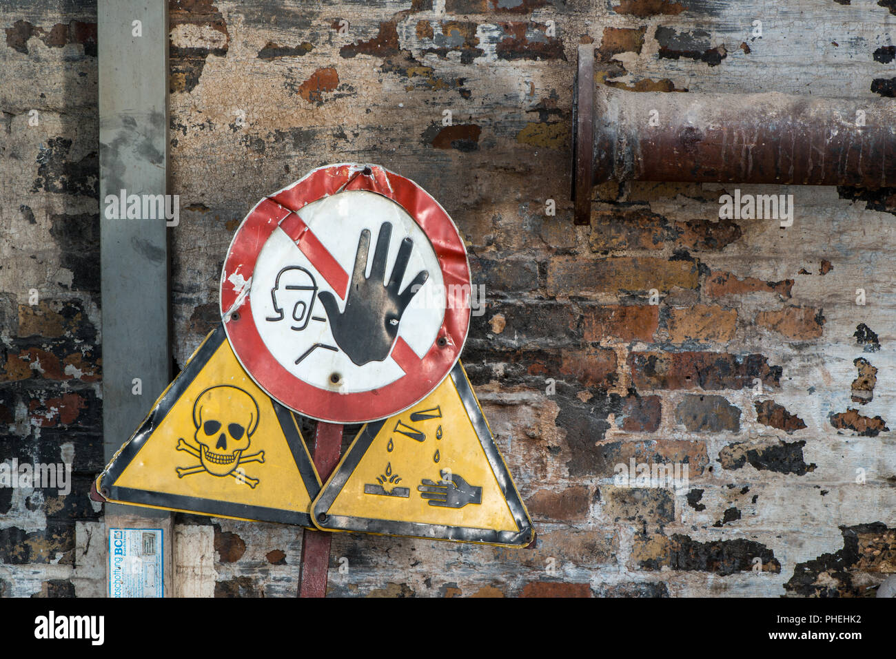 Signs for Dangerous Things and Poison - Stock Image