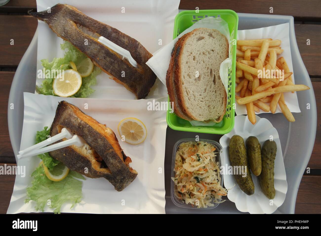 Fried fish food outdoors Stock Photo