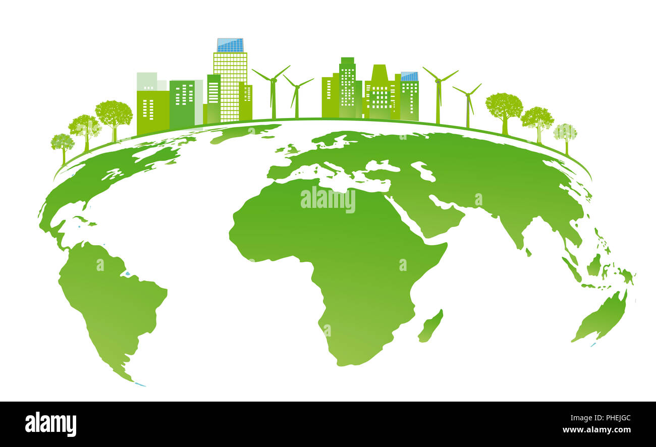 Land with solar panels and wind energy - Stock Image