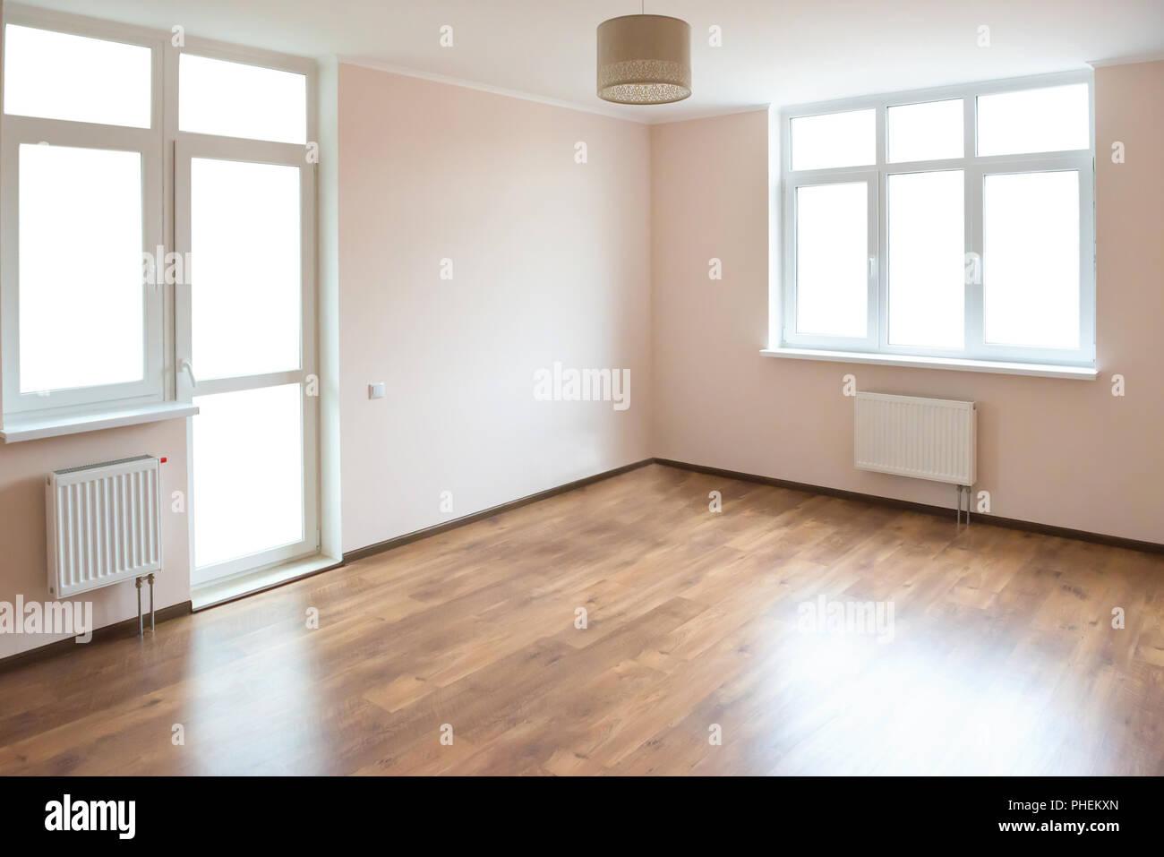 Empty room with white windows - Stock Photo