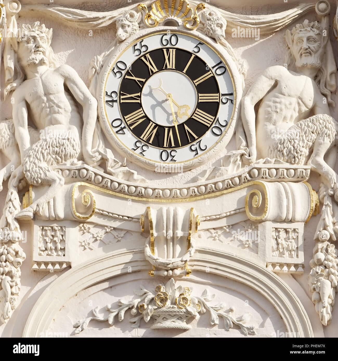 restored historic townhall clock, Bonn, North Rhine-Westphalia, Germany, Europe - Stock Image