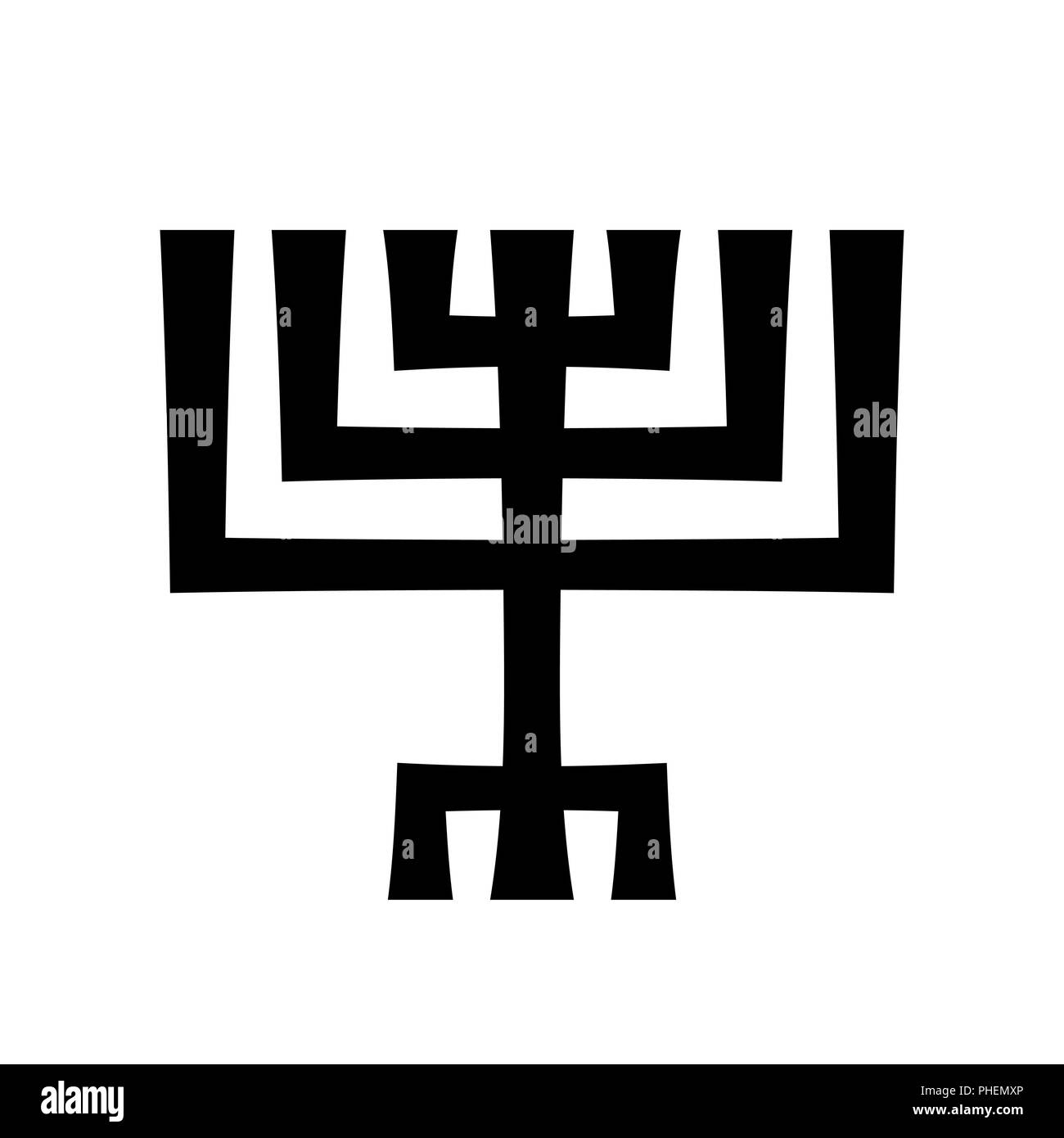 Menorah (ancient Hebrew sacred seven-candleholder) - Stock Image