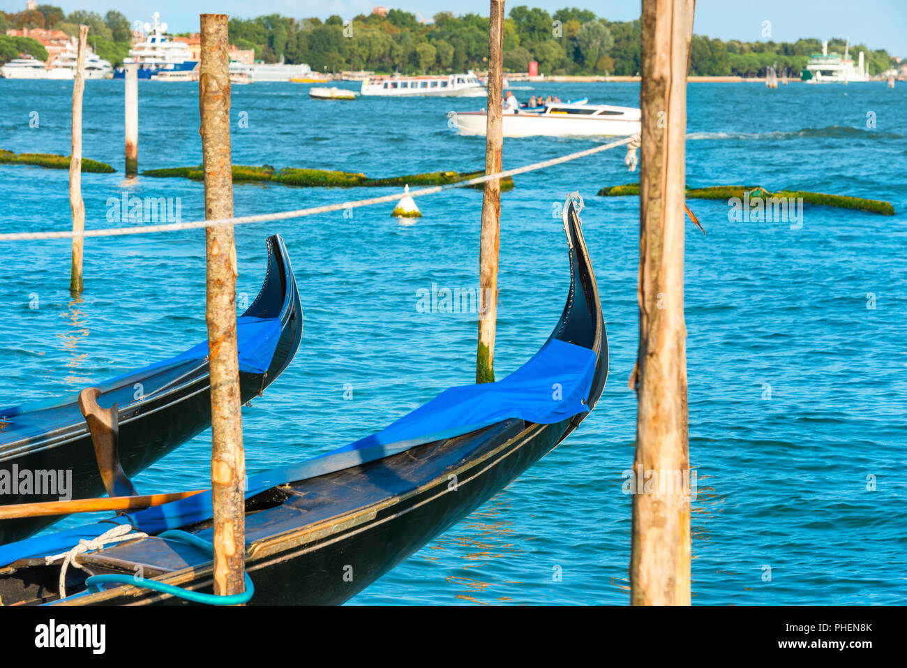 Gondolas on Grand Canal Stock Photo