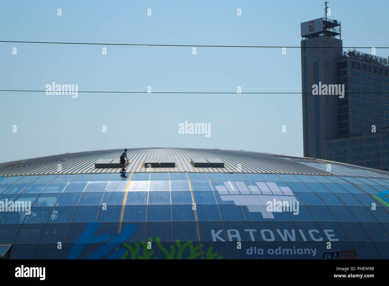 Tram station roof under maintenance - Katowice, Poland. - Stock Image