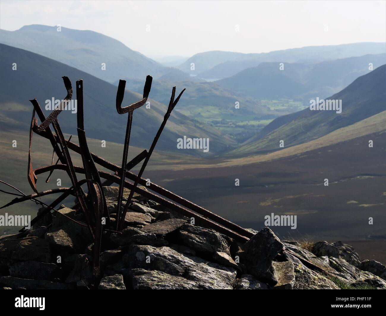 The Southern Summit Cairn of Great Calva, looking towards Thirlmere, Northern Lake District National Park, Cumbria, England, United Kingdom Stock Photo