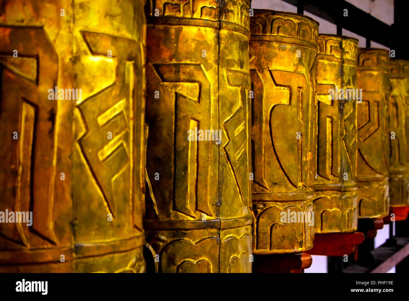 Buddhist prayer wheel with mantra sounds