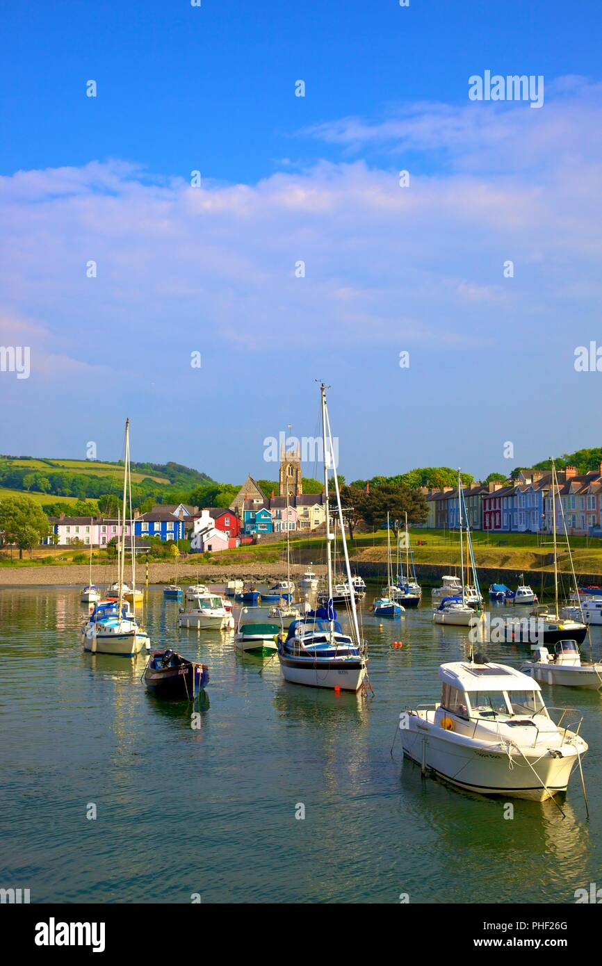 The Harbour at Aberaeron, Cardigan Bay, Wales, United Kingdom, Europe, Stock Photo